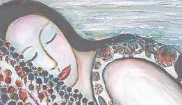 Color drawing of woman sleeping