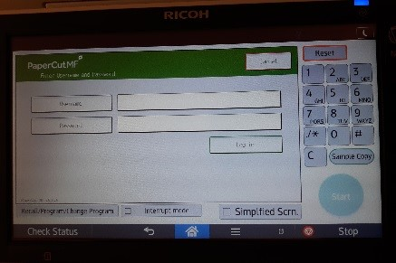 Ricoh login screen for username and password.