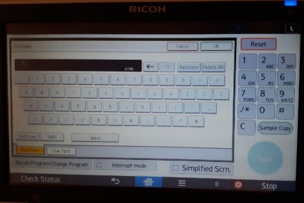 Ricoh touch screen keyboard.