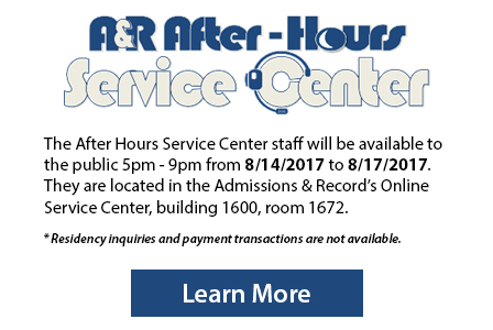 Admissions and Records after hours service center - learn more