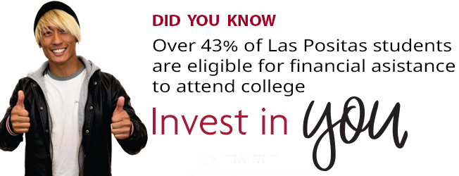 Over 43% of Las Positas students are eligible for financial asistance to atend college