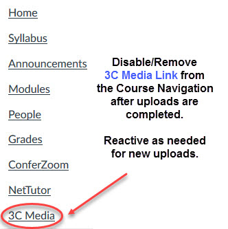 Disable 3C Media link in course navigation.