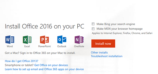 Install page for Microsoft Office 365