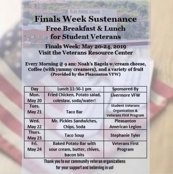 Finals Week Lunch Schedule