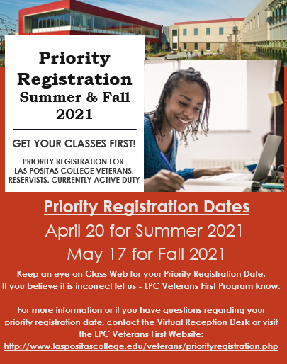 Priority Registration Summer Fall 2021